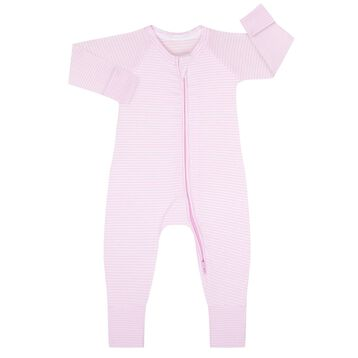 Cotton Stretch Zipped Pyjama with Pink and White stripes Dim Baby, , DIM