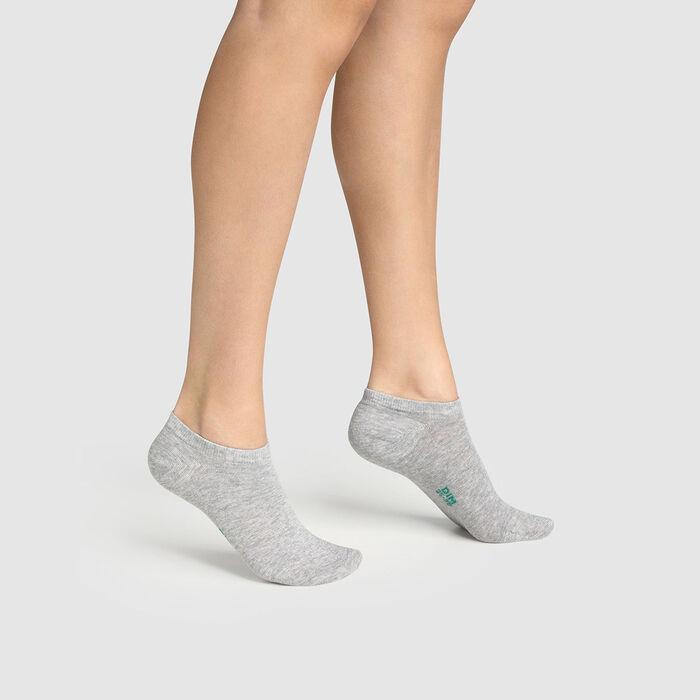 Lot de 2 paires de socquettes femme en coton bio Gris Green by Dim, , DIM