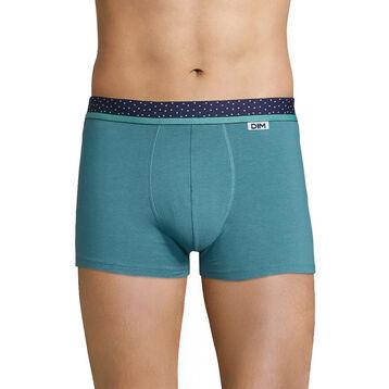 Boxer homme coton vert ceinture noire à pois blanc - Dim Mix & Dots, , DIM