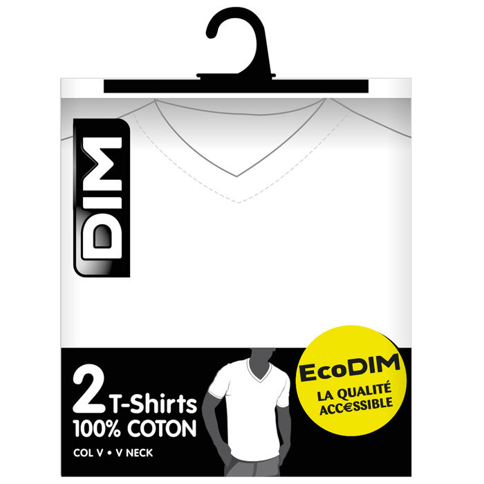 Pack of 2 white EcoDIM V-neck T-shirts in pure cotton, , DIM