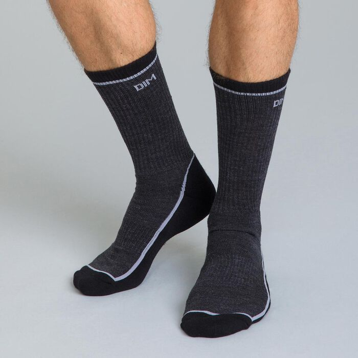 Chaussettes Outdoor contrastées bi-colores anthracite Homme-DIM