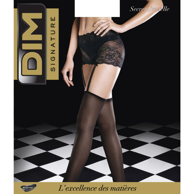 Black Lace Signature Jarretelle 20 tights with built-in lace suspenders, , DIM