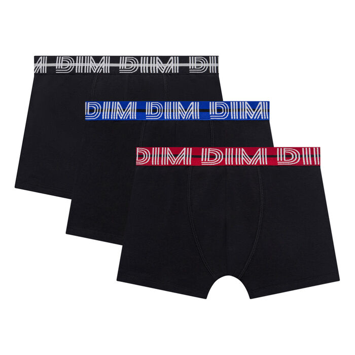 Lot de 3 boxers garçon noirs ceintures colorées - Coton Stretch, , DIM