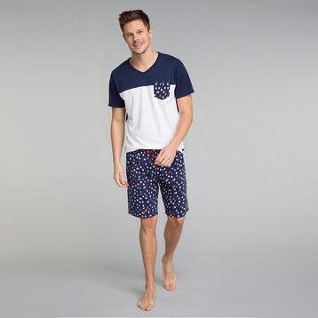 Printed navy blue pyjama shorts - Fashion, , DIM
