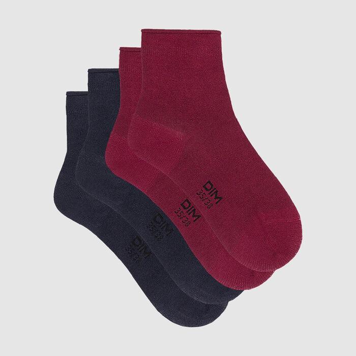 Dim Modal pack of 2 pairs of women's modal socks Burgundy Navy Blue, , DIM