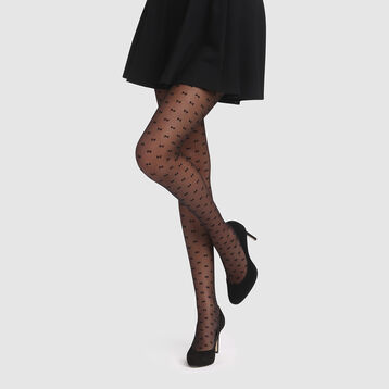 Black tights with small bows print 20D Dim Style, , DIM