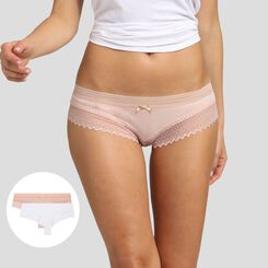 Dim Sexy Fashion 2 pack shorties white and nude pink , , DIM