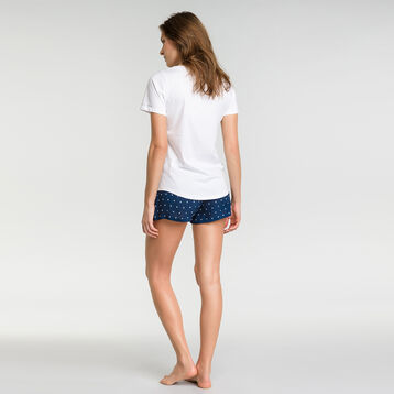 Navy blue pyjama shorts with white polka dots  - Fashion, , DIM