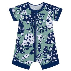 Zipped cotton stretch romper with tropical print Dim Baby, , DIM