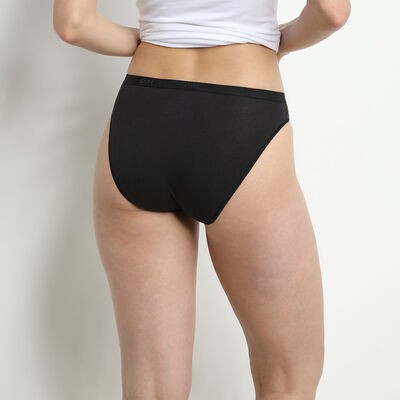 Pack of 3 pairs of Les Pockets Coton bikini knickers in black/white/grey, , DIM
