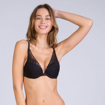 Sublim Dentelle push-up plunge bra in black, , DIM