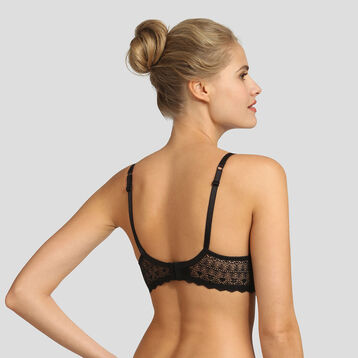 Dim Daily Glam black lace and dotted swiss mesh bra , , DIM