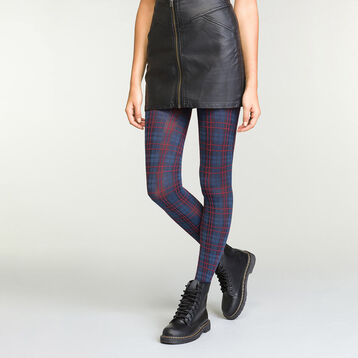 Women's fantasy tights in Charcoal Grey, Blue and Red Tartan, , DIM