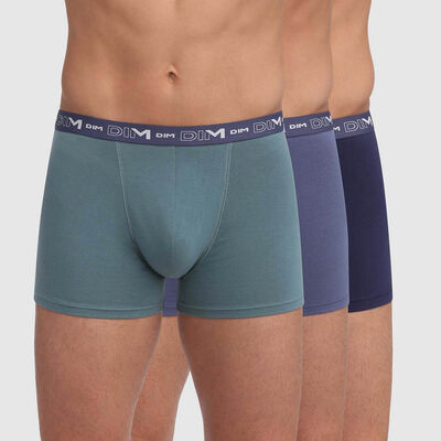 3 pack storm blue and green trunks Coton Stretch, , DIM