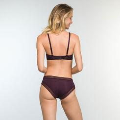 Women's Trendy Micro Precious Purple Microfiber and Lace Briefs, , DIM