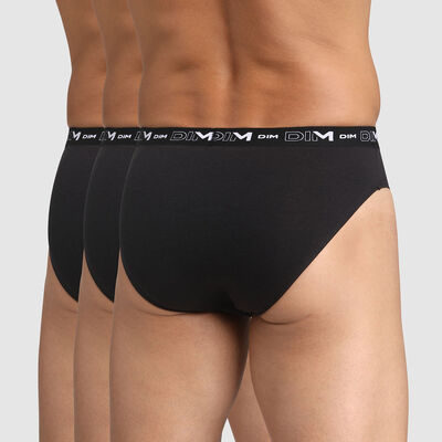 Pack of 3 pairs of black stretch cotton briefs for men, , DIM