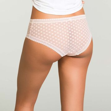 Shorty Skin Rose femme en tulle à pois Dotty Mesh Bar à Culottes, , DIM