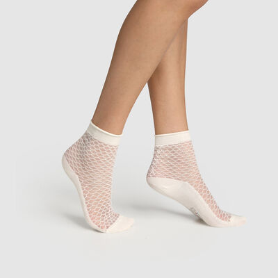 Women's cotton sock with transparent tortoiseshell motif Ivory Made in France, , DIM