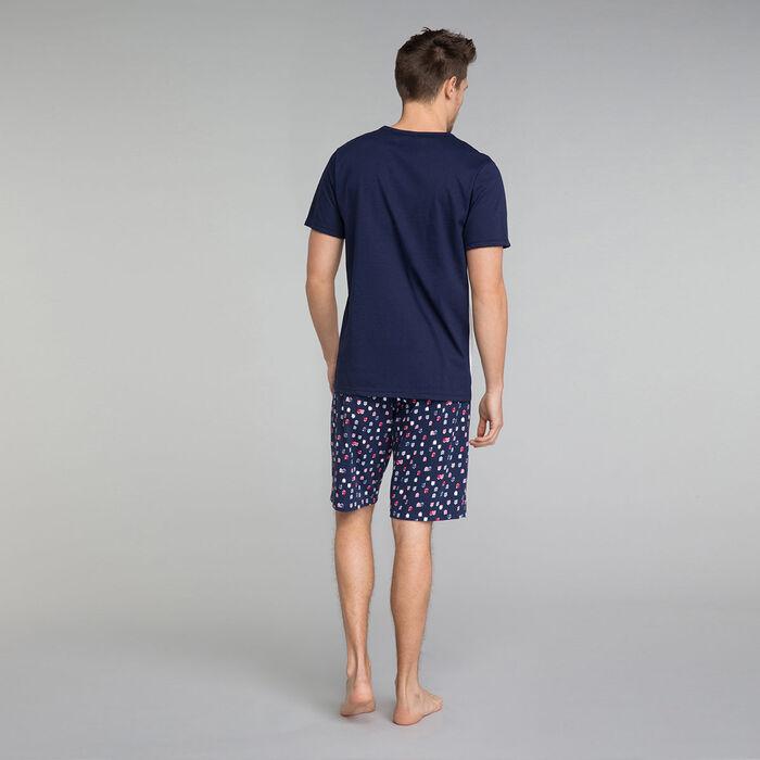 Printed navy blue pyjama shorts - Fashion, , DIM
