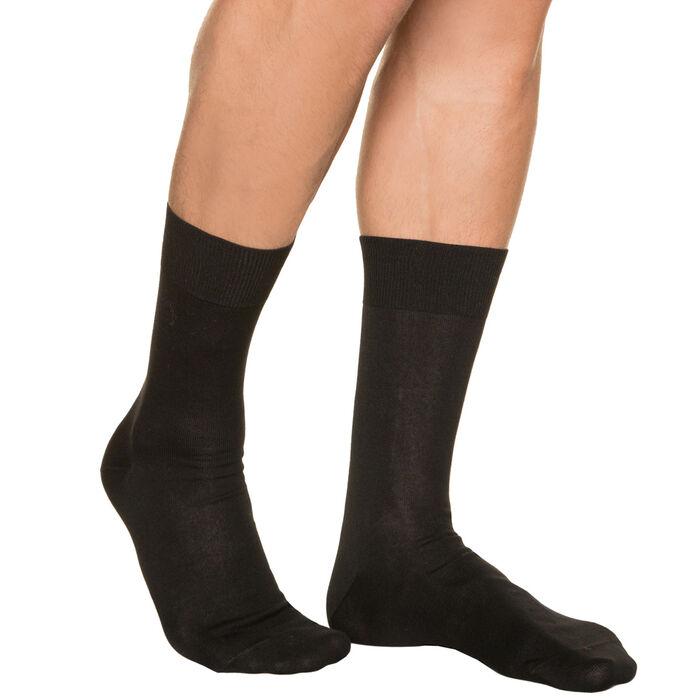 Black lisle socks for men, , DIM