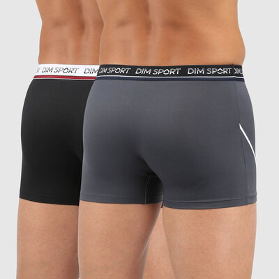 Dim Sport pack of 2 men's antiperspirant microfibre trunks in grey and black, , DIM