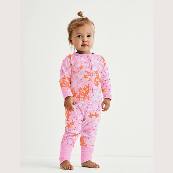 Pyjama bébé fille zippé Imprimé Étoiles roses DIM Baby, , DIM