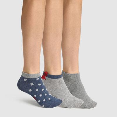 """Набор 3 шт.: серые детские хлопковые носки с принтом """"Краб"""" Cotton Style, , DIM"""
