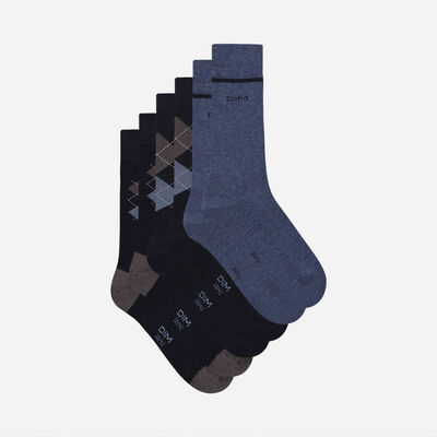 Pack of 3 Pairs of Men's Blue Cotton Style Tartan Socks, , DIM