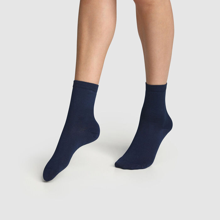 Pack of  2 pairs of women's socks Navy Blue Mercerised Cotton, , DIM