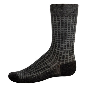 Men's wool calf socks in Dark Heather Grey and Jade Green, , DIM