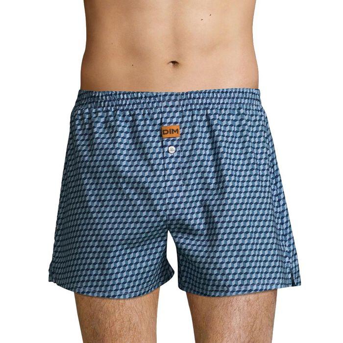 Dim 100% cotton loose fit trunks in Cube Print, , DIM