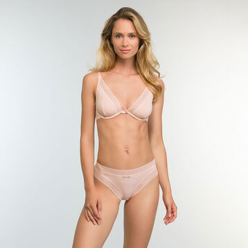 Women's Trendy Micro Nude Pink Microfiber and Lace Briefs, , DIM