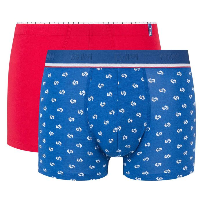 2 pack trunks in topaz and red with print Dim Cup, , DIM