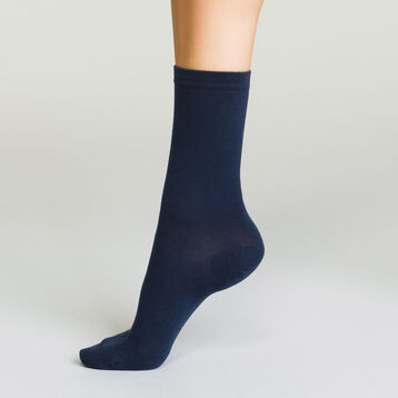 Pack of women's Basic Cotton ankle socks Navy Blue, , DIM