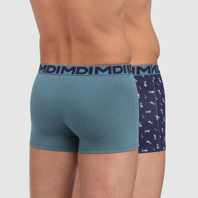Lot de 2 boxers coton stretch vert viride imprimé transat Mix and Fancy, , DIM