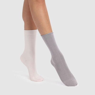 Dim Modal 2 pack  modal socks in silver grey and ivory, , DIM