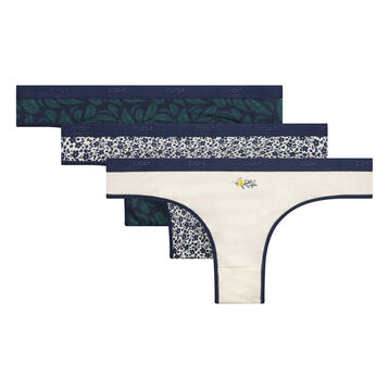 3 pack thongs with foliage pattern - Les Pockets Coton Stretch, , DIM