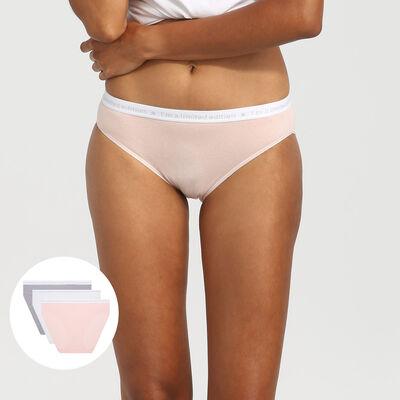Lot de 3 culottes en coton rose/blanc/gris Les Pockets Edition Limitée, , DIM
