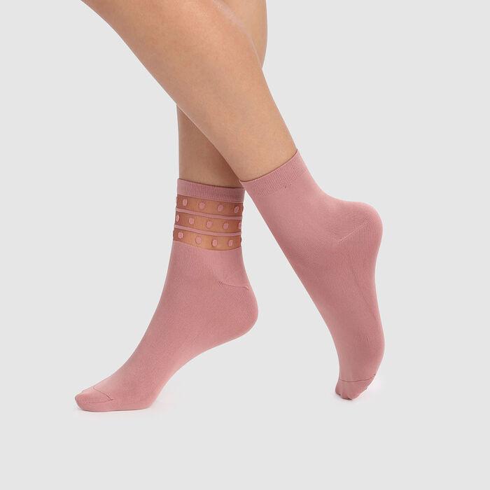 Lot de 2 socquettes roses microfibre à empiècement tulle et pois Skin, , DIM