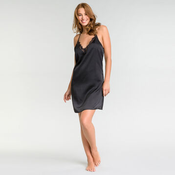 Satin nightie with black lace - Glamour, , DIM