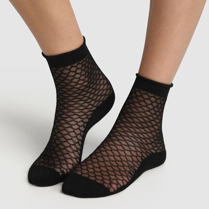 Socquette femme en coton motif écaille transparent Noir Made in France, , DIM