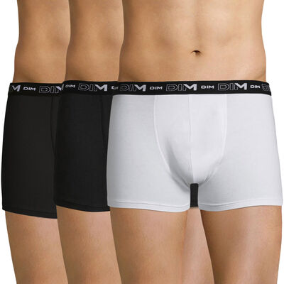 Lot de 3 boxer noirs et blancs Coton Stretch, , DIM