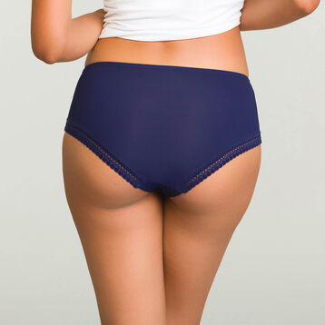 Infinite Blue microfiber shorty Micro Lace Panty Box, , DIM