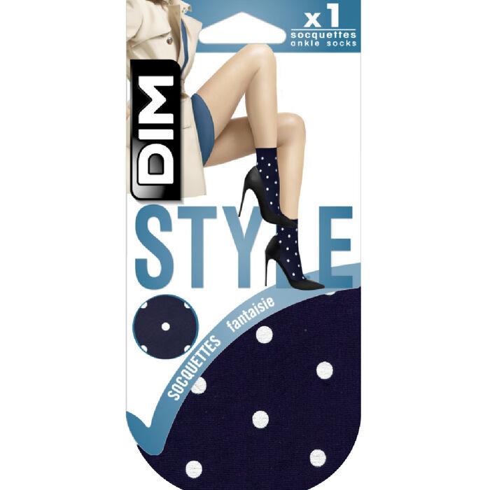 Black fancy socks with retro polka dot print 40D Dim Style, , DIM