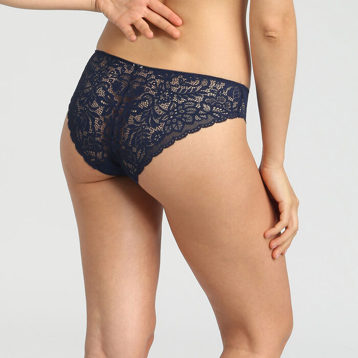 Dim Sublim Dentelle dark blue lace and microfibre briefs, , DIM