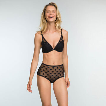 Black laced high-waist brief with polka dot print Dotty Line, , DIM