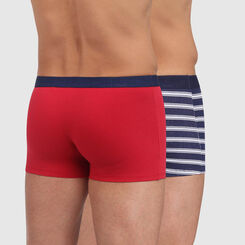 Mix and Fancy 2 pack trunks in topaz red and blue striped print, , DIM