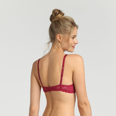 Dim Sublim Dentelle varnish red wireless triangle bra, , DIM