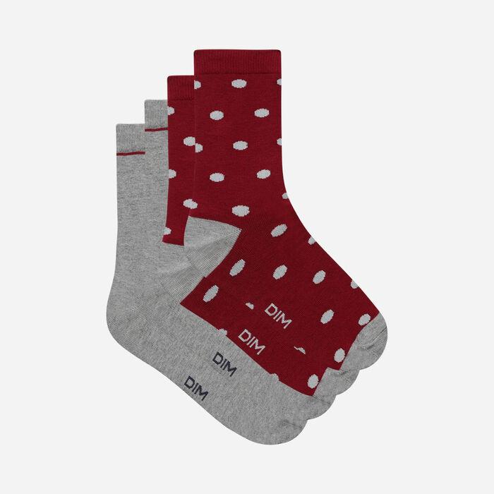 Pack of 2 pairs of burgundy polka-dot cotton socks for women, , DIM
