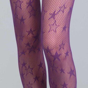 Style 73 midnight purple star fishnet tights - DIM